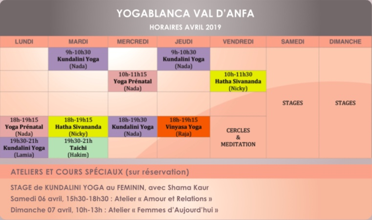 Yogablanca planning anfa avril 2019